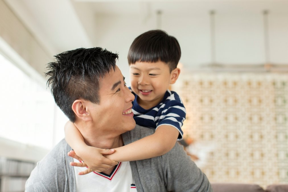 photo of healthy man with child